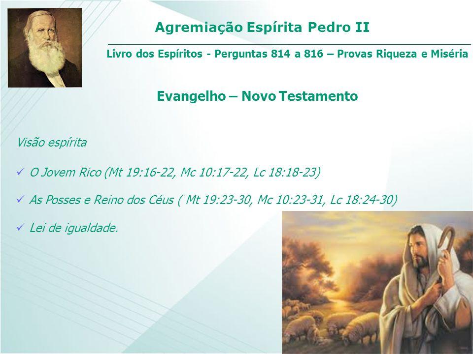 Agremiação Espírita Pedro II Visão espírita O Jovem Rico (Mt 19:16-22, Mc 10:17-22, Lc 18:18-23) Livro dos Espíritos - Perguntas 814 a 816 – Provas Ri