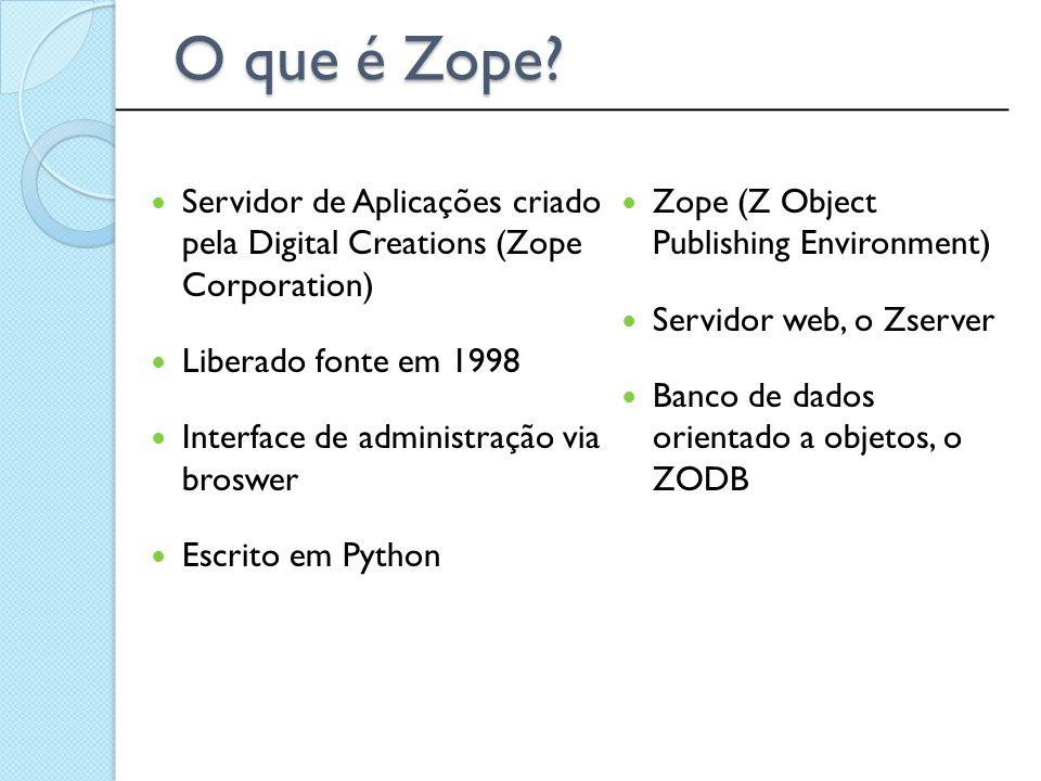 Servidor de Aplicações criado pela Digital Creations (Zope Corporation) Liberado fonte em 1998 Interface de administração via broswer Escrito em Pytho