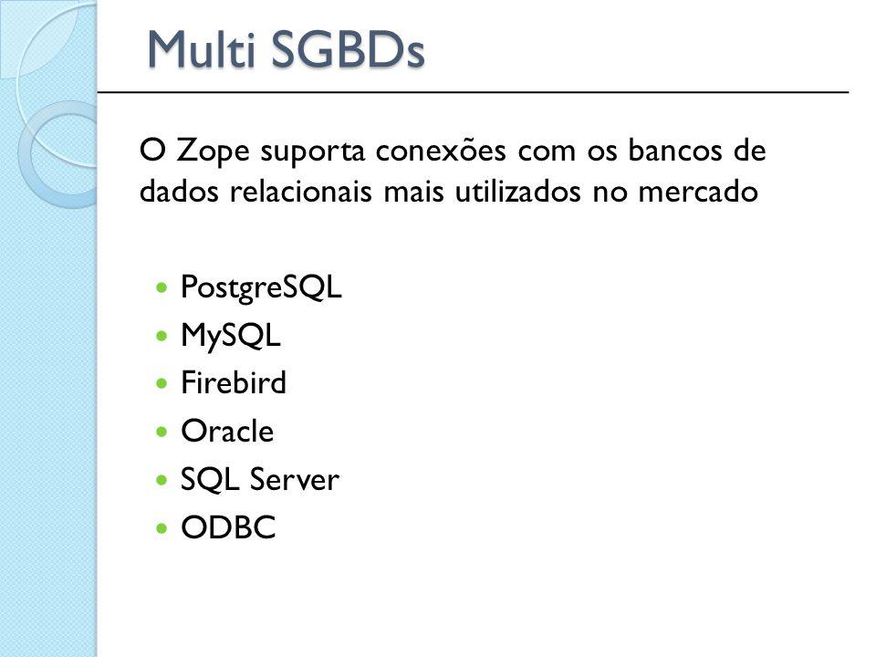 PostgreSQL MySQL Firebird Oracle SQL Server ODBC ______________________________________________ Multi SGBDs O Zope suporta conexões com os bancos de d