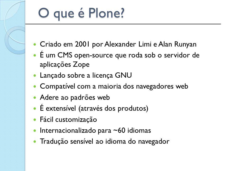 Criado em 2001 por Alexander Limi e Alan Runyan É um CMS open-source que roda sob o servidor de aplicações Zope Lançado sobre a licença GNU Compatível