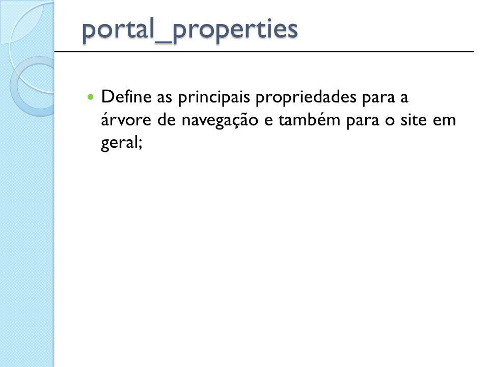 Define as principais propriedades para a árvore de navegação e também para o site em geral; ______________________________________________ portal_prop