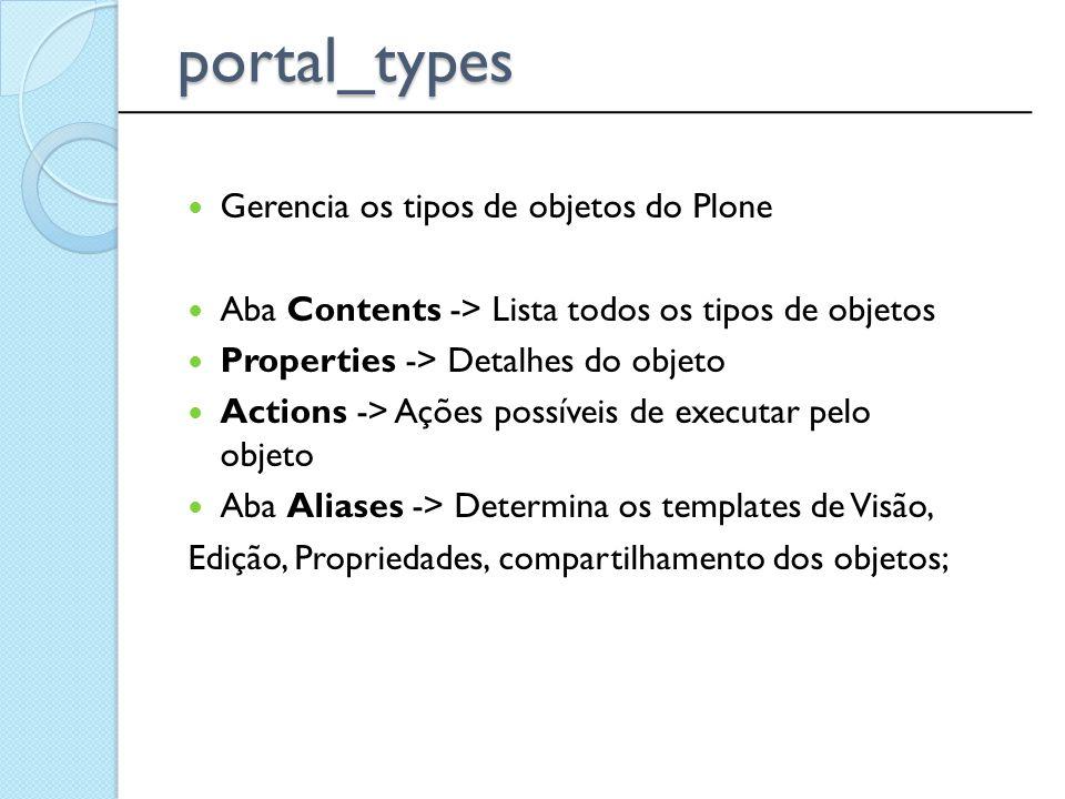 Gerencia os tipos de objetos do Plone Aba Contents -> Lista todos os tipos de objetos Properties -> Detalhes do objeto Actions -> Ações possíveis de e