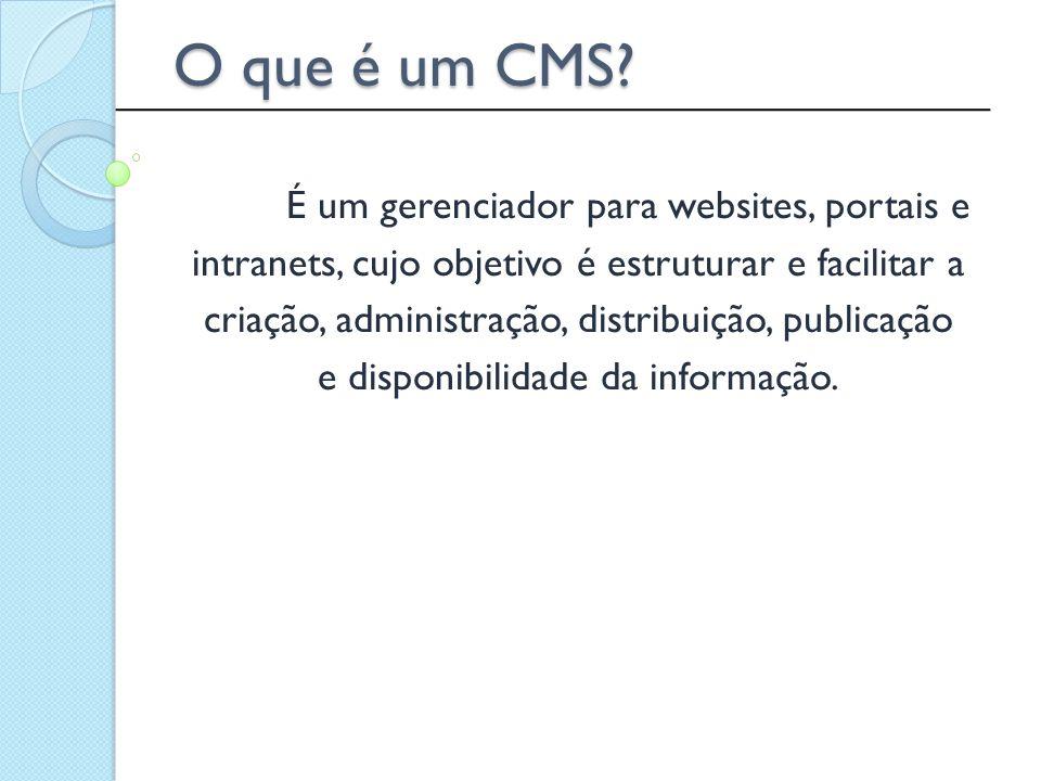 Sites tendem a crescer desordenadamente Dar o poder da edição ao usuário Reduzir o tempo de publicação Publicação on-line Padronizar interfaces de apresentação Separar conteúdo, interface e lógica Segurança Web 2.0 Por que usar um CMS.