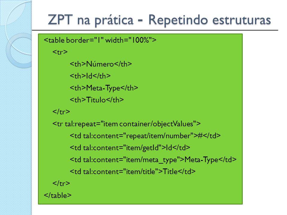 ______________________________________________ ZPT na prática - Repetindo estruturas Número Id Meta-Type Titulo # Id Meta-Type Title