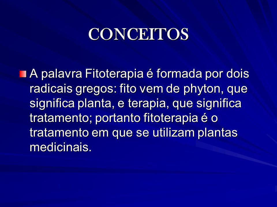 CONCEITOS A palavra Fitoterapia é formada por dois radicais gregos: fito vem de phyton, que significa planta, e terapia, que significa tratamento; por