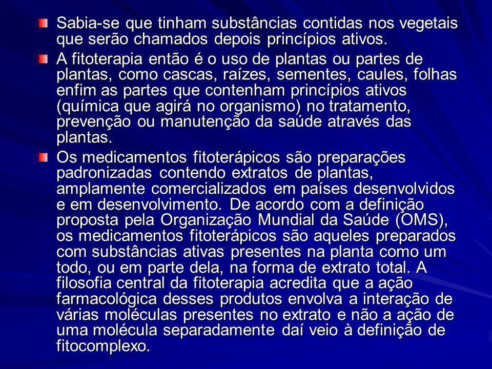 Sabia-se que tinham substâncias contidas nos vegetais que serão chamados depois princípios ativos. A fitoterapia então é o uso de plantas ou partes de