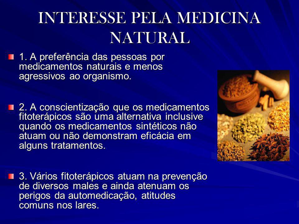INTERESSE PELA MEDICINA NATURAL 1. A preferência das pessoas por medicamentos naturais e menos agressivos ao organismo. 2. A conscientização que os me