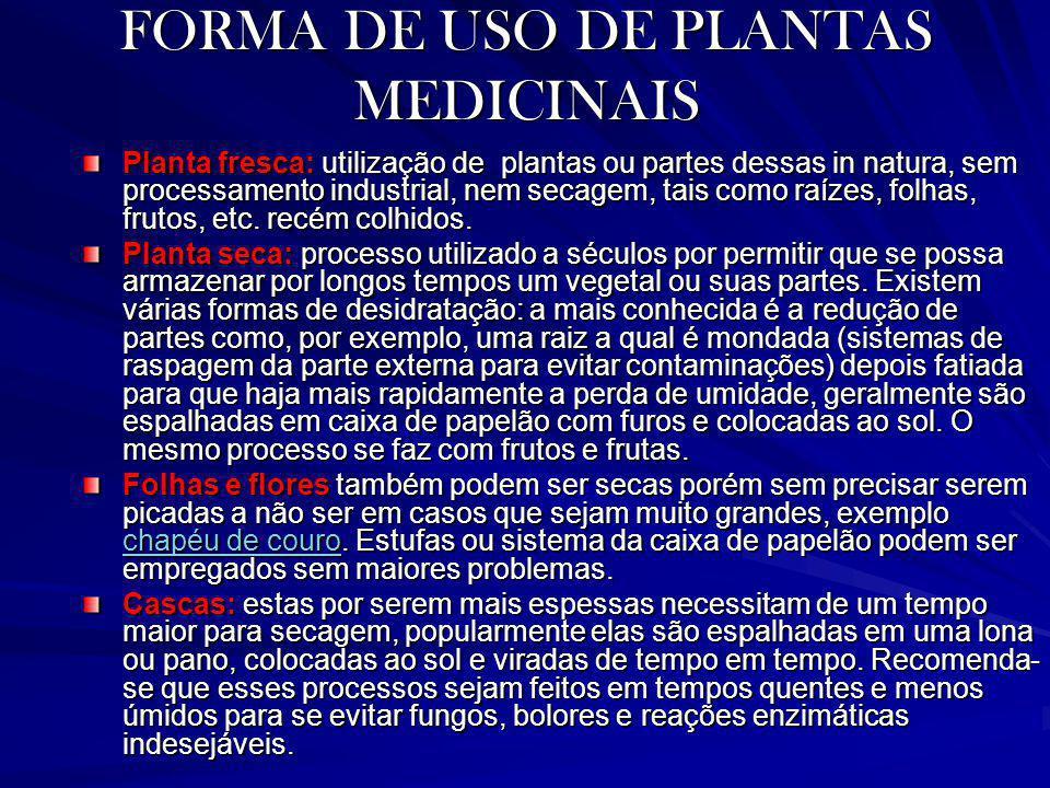 FORMA DE USO DE PLANTAS MEDICINAIS Planta fresca: utilização de plantas ou partes dessas in natura, sem processamento industrial, nem secagem, tais co