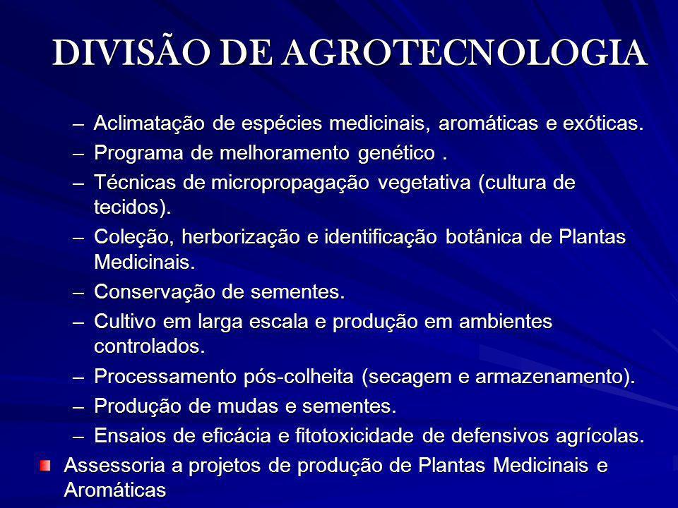 DIVISÃO DE AGROTECNOLOGIA –Aclimatação de espécies medicinais, aromáticas e exóticas. –Programa de melhoramento genético. –Técnicas de micropropagação