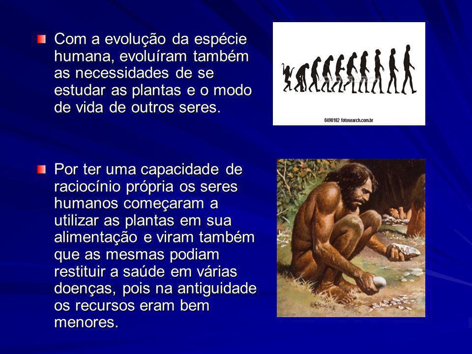 Com a evolução da espécie humana, evoluíram também as necessidades de se estudar as plantas e o modo de vida de outros seres. Por ter uma capacidade d