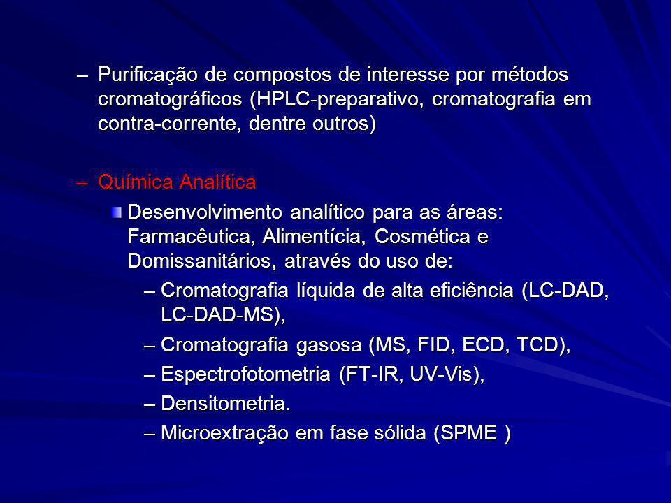 –Purificação de compostos de interesse por métodos cromatográficos (HPLC-preparativo, cromatografia em contra-corrente, dentre outros) –Química Analít