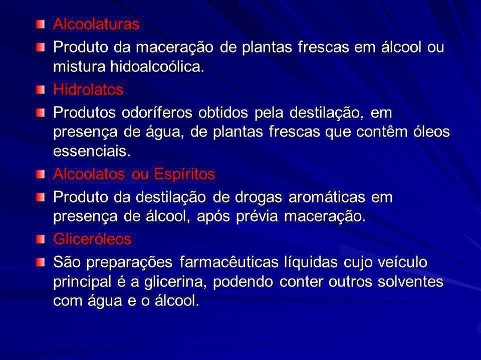 Alcoolaturas Produto da maceração de plantas frescas em álcool ou mistura hidoalcoólica. Hidrolatos Produtos odoríferos obtidos pela destilação, em pr