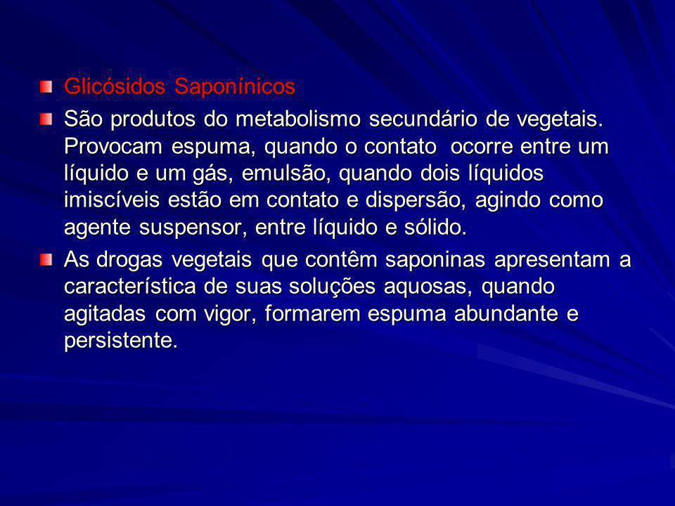 Glicósidos Saponínicos São produtos do metabolismo secundário de vegetais. Provocam espuma, quando o contato ocorre entre um líquido e um gás, emulsão