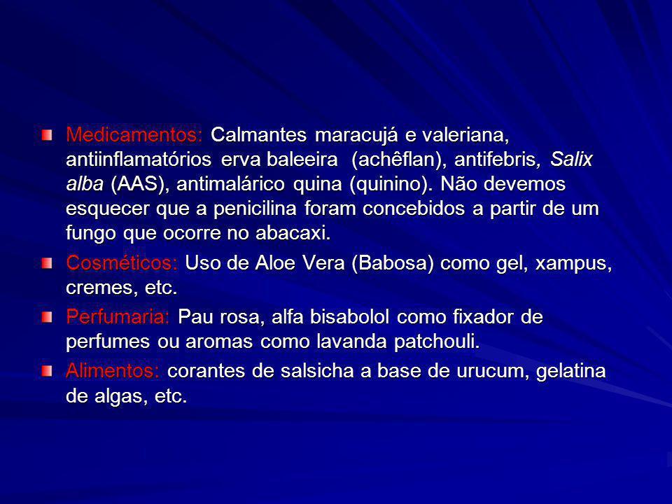 Medicamentos: Calmantes maracujá e valeriana, antiinflamatórios erva baleeira (achêflan), antifebris, Salix alba (AAS), antimalárico quina (quinino).