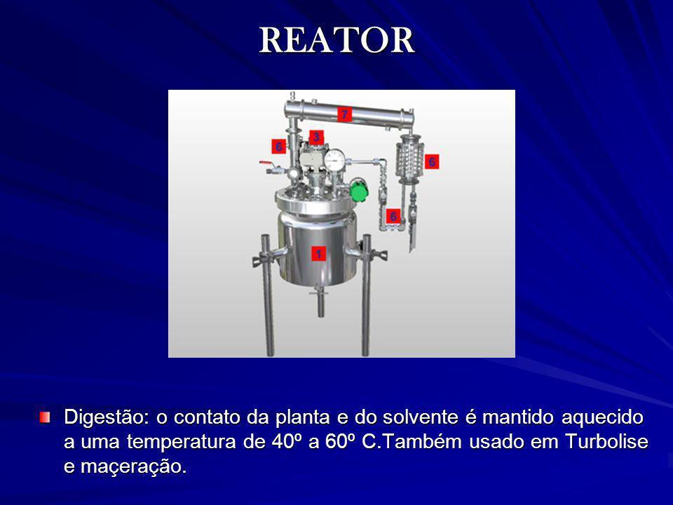REATOR Digestão: o contato da planta e do solvente é mantido aquecido a uma temperatura de 40º a 60º C.Também usado em Turbolise e maçeração.