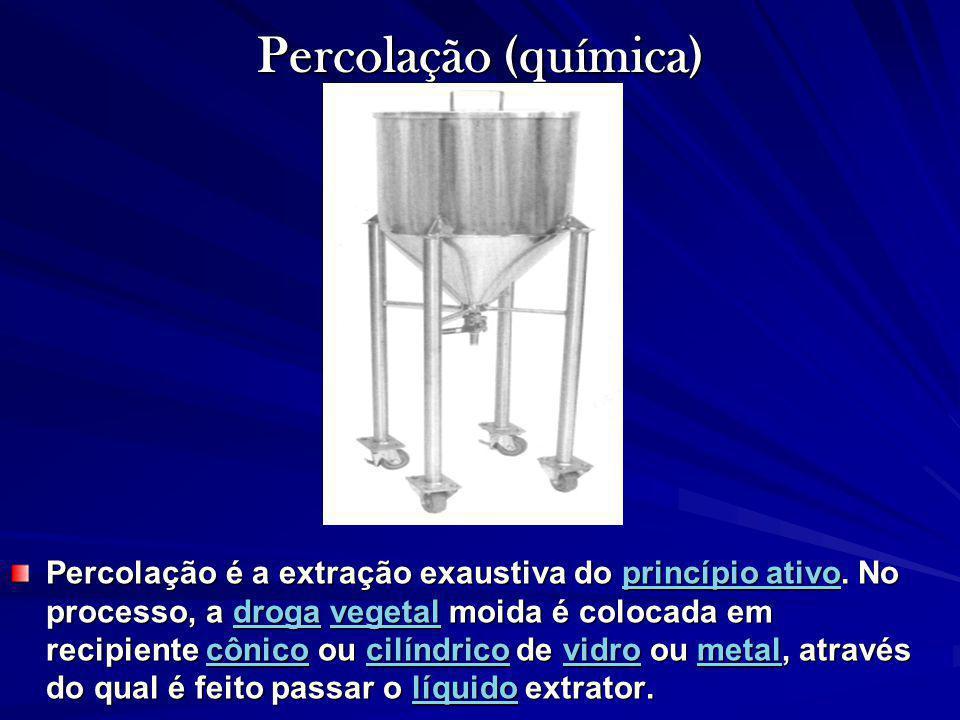 Percolação (química) Percolação é a extração exaustiva do princípio ativo. No processo, a droga vegetal moida é colocada em recipiente cônico ou cilín