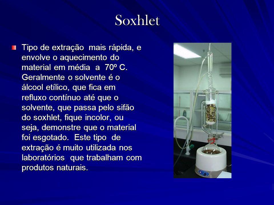 Soxhlet Tipo de extração mais rápida, e envolve o aquecimento do material em média a 70º C. Geralmente o solvente é o álcool etílico, que fica em refl