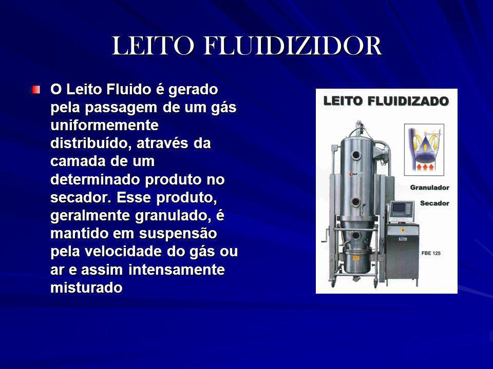 LEITO FLUIDIZIDOR O Leito Fluido é gerado pela passagem de um gás uniformemente distribuído, através da camada de um determinado produto no secador. E