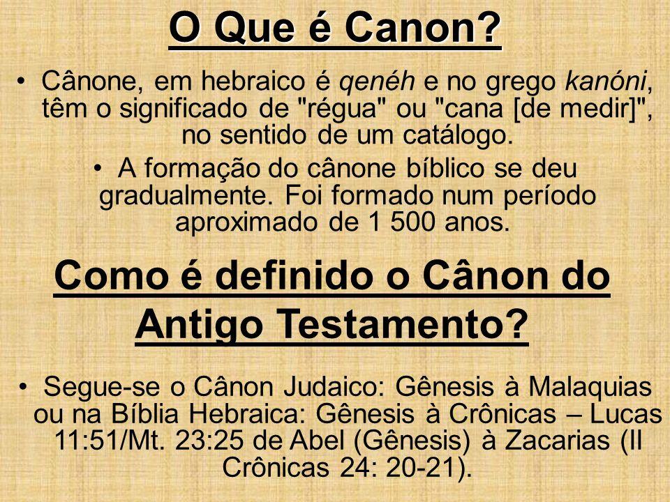 O Que é Canon? Cânone, em hebraico é qenéh e no grego kanóni, têm o significado de