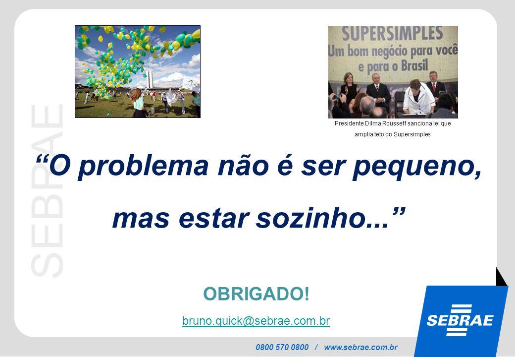 """SEBRAE 0800 570 0800 / www.sebrae.com.br """"O problema não é ser pequeno, mas estar sozinho..."""" OBRIGADO! bruno.quick@sebrae.com.br Presidente Dilma Rou"""