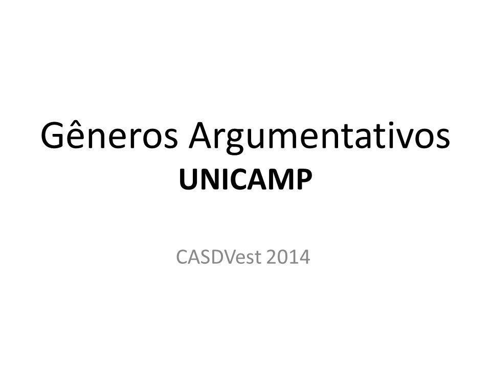 Gêneros Argumentativos UNICAMP CASDVest 2014