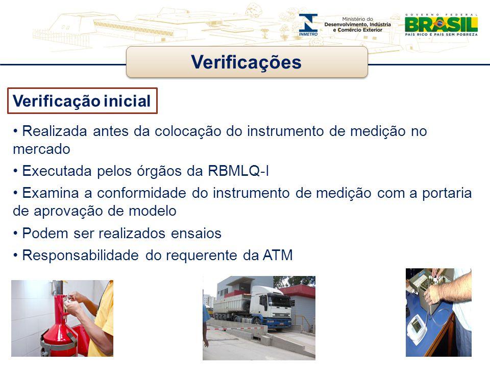 Verificações Verificação inicial Realizada antes da colocação do instrumento de medição no mercado Executada pelos órgãos da RBMLQ-I Examina a conform