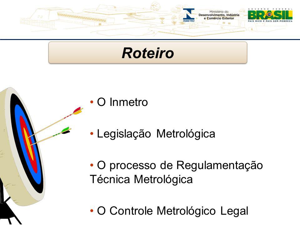 O Inmetro Legislação Metrológica O processo de Regulamentação Técnica Metrológica O Controle Metrológico Legal Roteiro