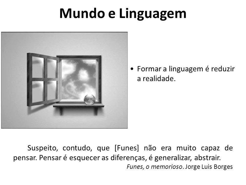 Mundo e Linguagem Formar a linguagem é reduzir a realidade.
