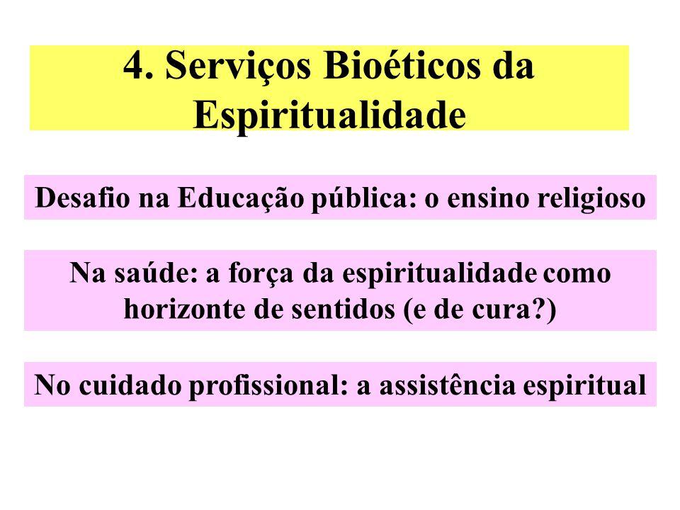4. Serviços Bioéticos da Espiritualidade Desafio na Educação pública: o ensino religioso Na saúde: a força da espiritualidade como horizonte de sentid