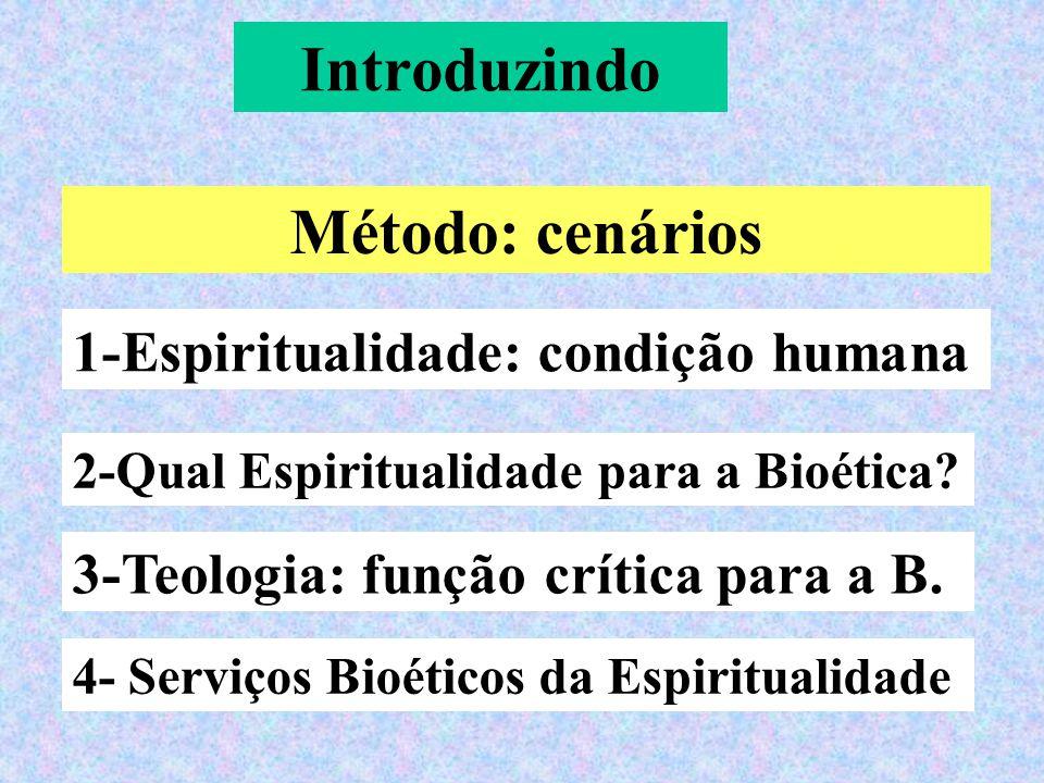 Introduzindo Método: cenários 1-Espiritualidade: condição humana 3-Teologia: função crítica para a B.