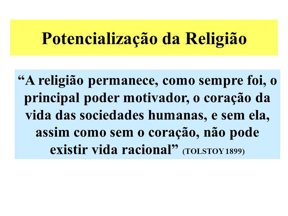 Potencialização da Religião A religião permanece, como sempre foi, o principal poder motivador, o coração da vida das sociedades humanas, e sem ela, assim como sem o coração, não pode existir vida racional (TOLSTOY 1899)