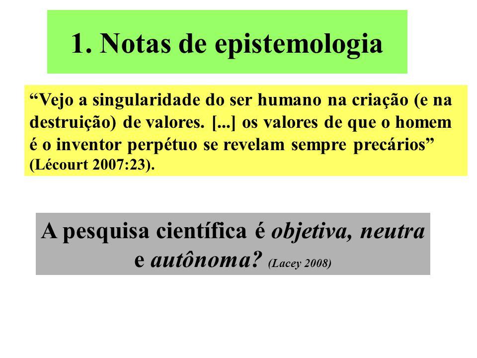 """1. Notas de epistemologia """"Vejo a singularidade do ser humano na criação (e na destruição) de valores. [...] os valores de que o homem é o inventor pe"""