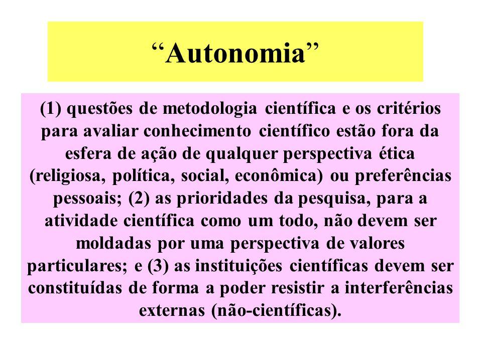 """""""Autonomia"""" (1) questões de metodologia científica e os critérios para avaliar conhecimento científico estão fora da esfera de ação de qualquer perspe"""