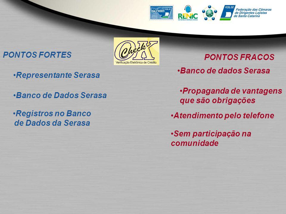 PONTOS FORTES Representante Serasa Banco de Dados Serasa Registros no Banco de Dados da Serasa PONTOS FRACOS Banco de dados Serasa Propaganda de vanta