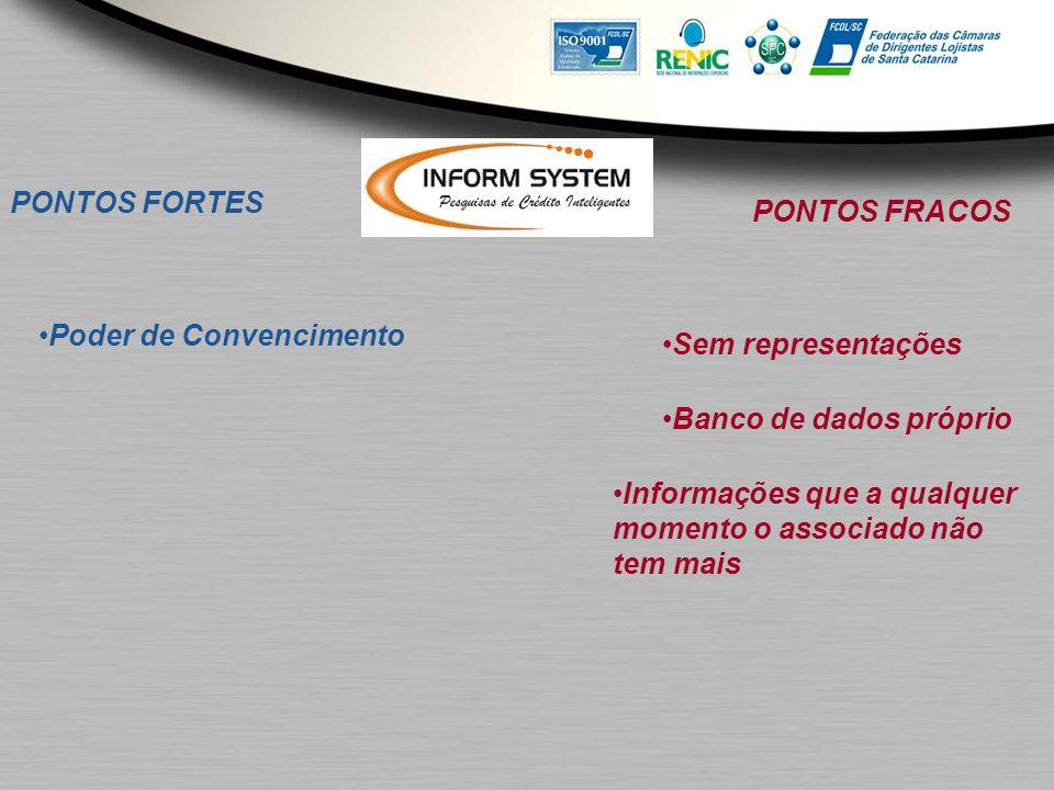 PONTOS FORTES Poder de Convencimento PONTOS FRACOS Sem representações Banco de dados próprio Informações que a qualquer momento o associado não tem ma