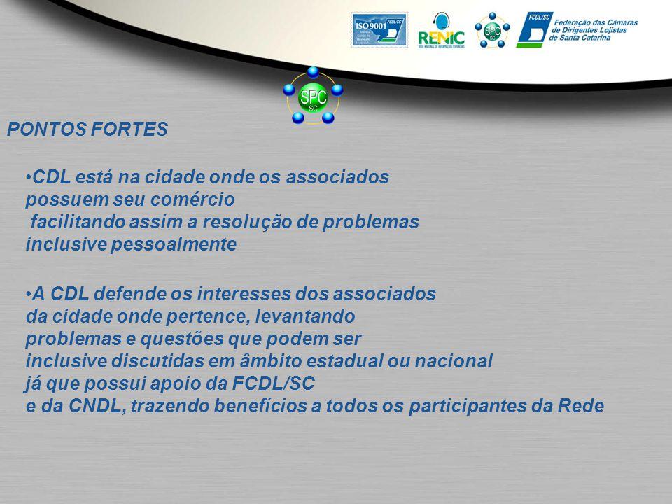 PONTOS FORTES CDL está na cidade onde os associados possuem seu comércio facilitando assim a resolução de problemas inclusive pessoalmente A CDL defen