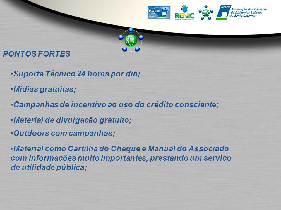 PONTOS FORTES Suporte Técnico 24 horas por dia; Mídias gratuitas; Campanhas de incentivo ao uso do crédito consciente; Material de divulgação gratuito