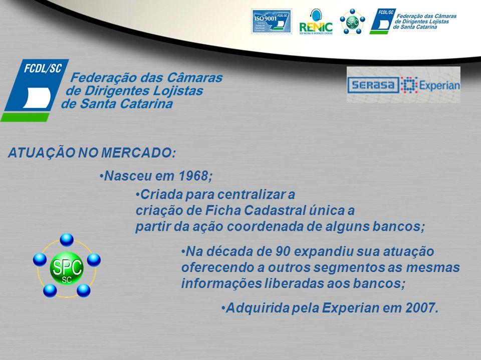 ATUAÇÃO NO MERCADO: Nasceu em 1968; Criada para centralizar a criação de Ficha Cadastral única a partir da ação coordenada de alguns bancos; Na década