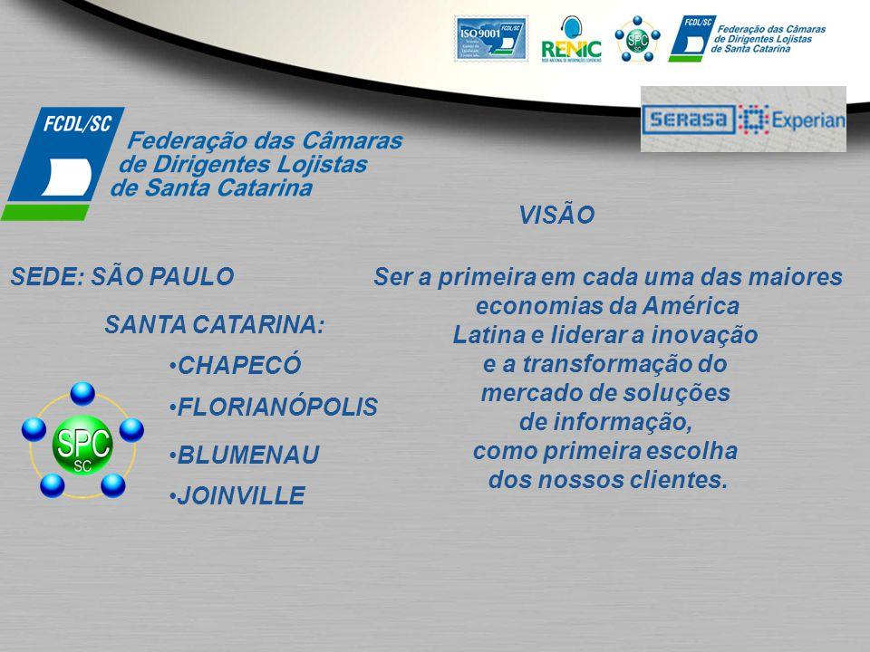 SEDE: SÃO PAULO SANTA CATARINA: CHAPECÓ FLORIANÓPOLIS BLUMENAU JOINVILLE VISÃO Ser a primeira em cada uma das maiores economias da América Latina e li