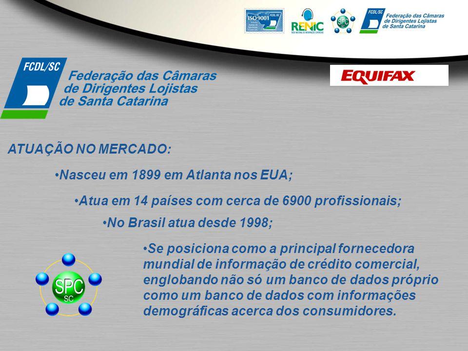 ATUAÇÃO NO MERCADO: Atuando no mercado nacional há 43 anos; Presente em 1800 municípios, com 50.000 clientes Parece ter banco de dados próprio, uma vez que não informa de onde vem a informação;
