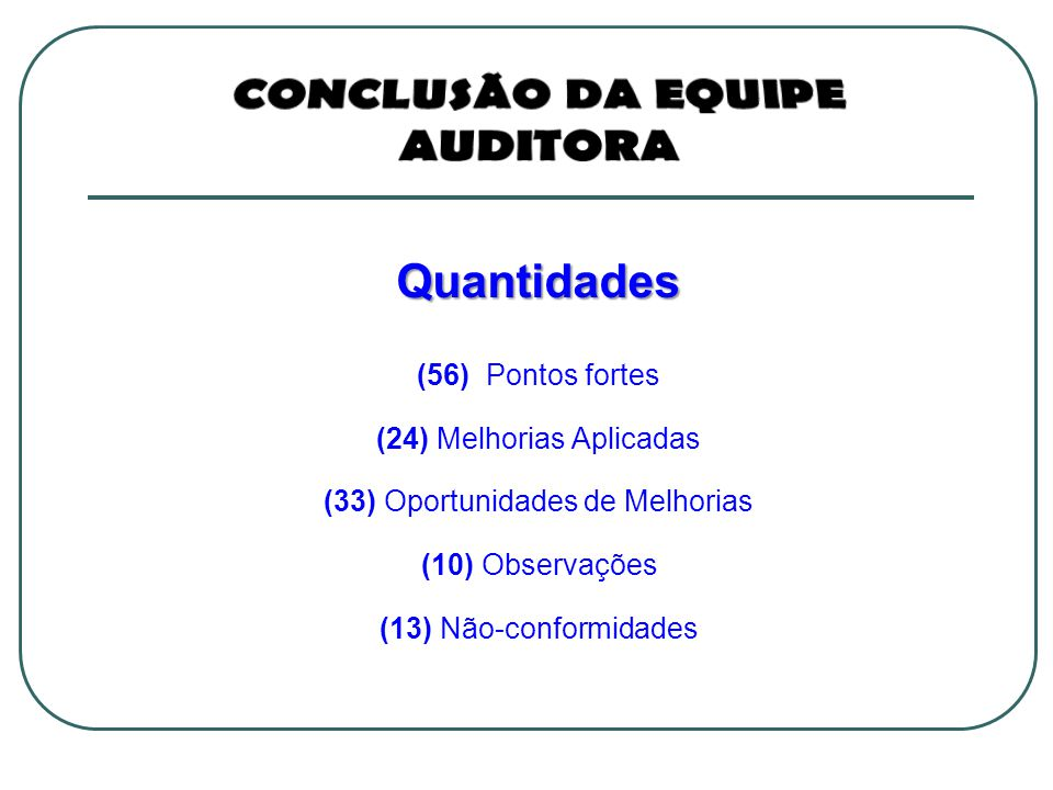 Quantidades (56) Pontos fortes (24) Melhorias Aplicadas (33) Oportunidades de Melhorias (10) Observações (13) Não-conformidades
