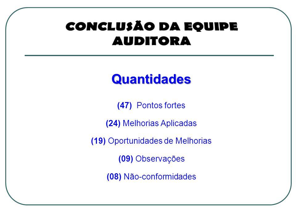Quantidades (47) Pontos fortes (24) Melhorias Aplicadas (19) Oportunidades de Melhorias (09) Observações (08) Não-conformidades