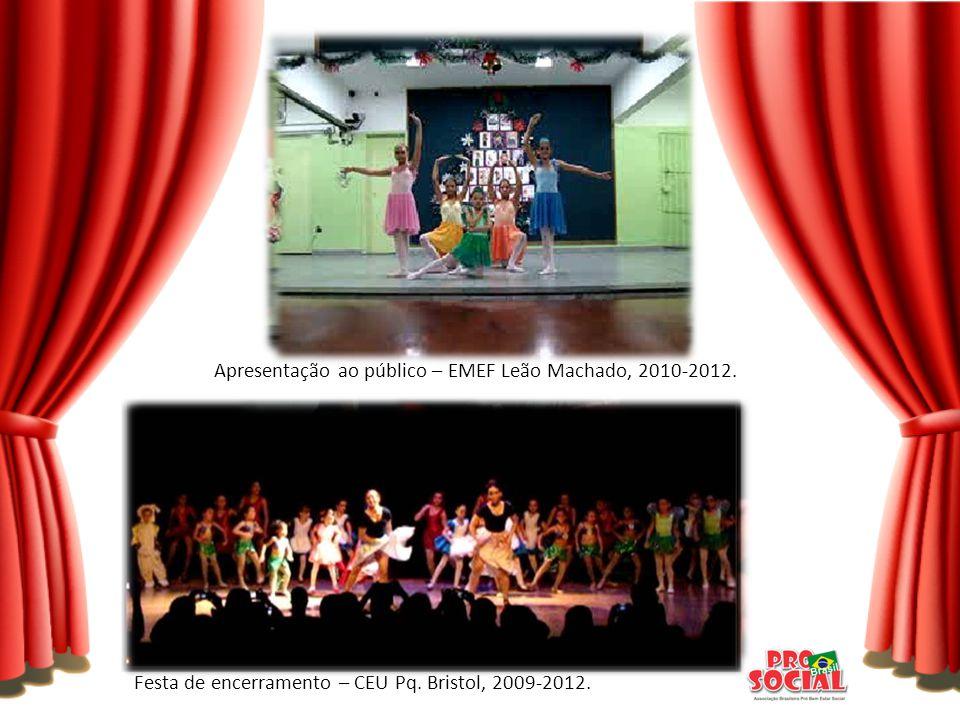 Festa de encerramento – CEU Pq. Bristol, 2009-2012. Apresentação ao público – EMEF Leão Machado, 2010-2012.