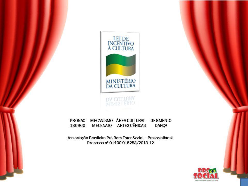 PRONAC MECANISMO ÁREA CULTURAL SEGMENTO 136960 MECENATO ARTES CÊNICAS DANÇA Associação Brasileira Pró Bem Estar Social – Prosocialbrasil Processo nº 0