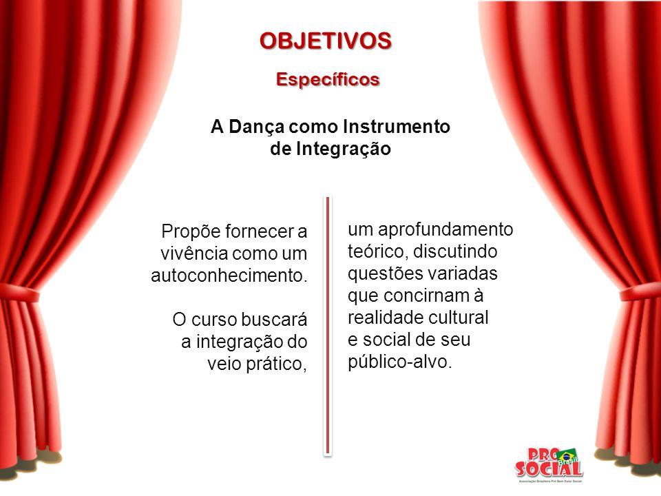 conhecimento de vertentes artísticas variadas; ampliação do universo cultural; Específicos OBJETIVOS contato direto e constante com grandes apresentações de música e dança das cidades de São Paulo e do ABC Paulista; A Dança como Agente Cultural-Educacional Propõe: