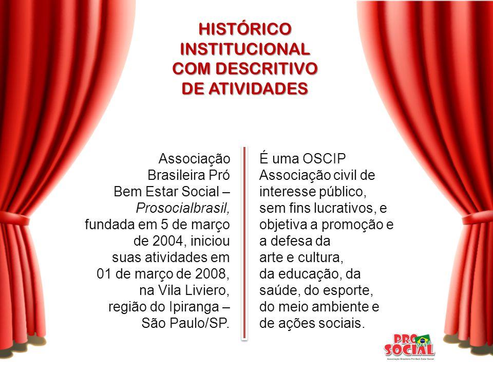 HISTÓRICOINSTITUCIONAL COM DESCRITIVO DE ATIVIDADES É uma OSCIP Associação civil de interesse público, sem fins lucrativos, e objetiva a promoção e a