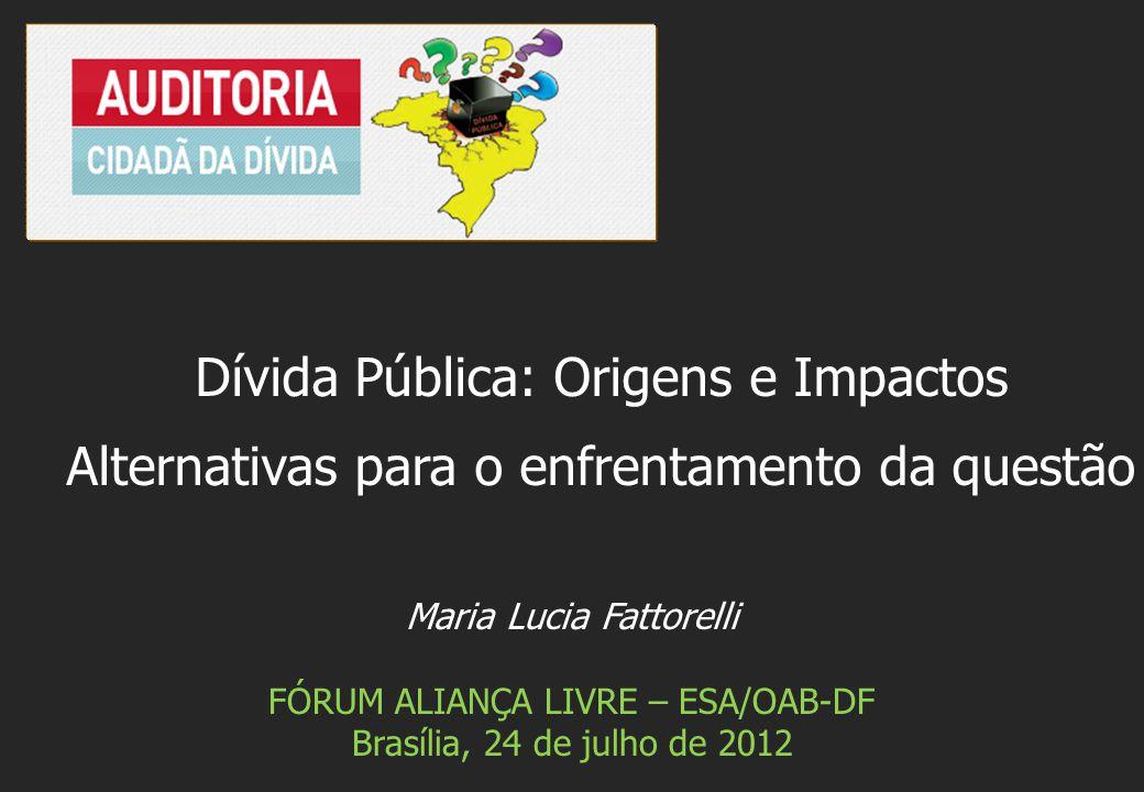Maria Lucia Fattorelli FÓRUM ALIANÇA LIVRE – ESA/OAB-DF Brasília, 24 de julho de 2012 Dívida Pública: Origens e Impactos Alternativas para o enfrentam