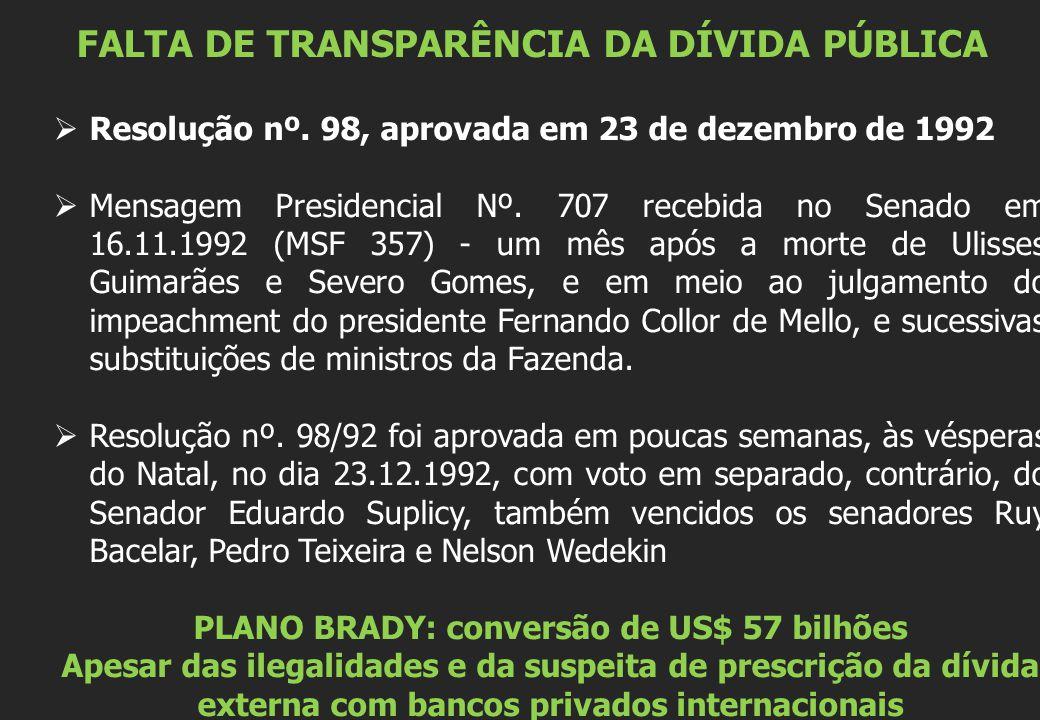 FALTA DE TRANSPARÊNCIA DA DÍVIDA PÚBLICA  Resolução nº. 98, aprovada em 23 de dezembro de 1992  Mensagem Presidencial Nº. 707 recebida no Senado em
