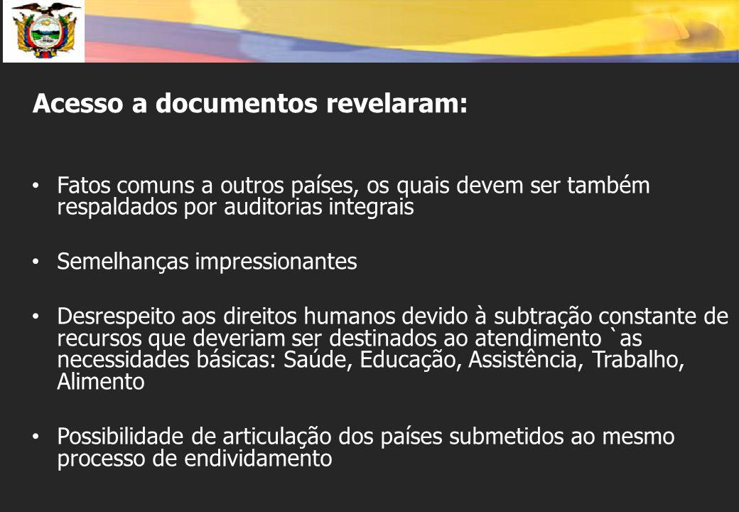 Acesso a documentos revelaram: Fatos comuns a outros países, os quais devem ser também respaldados por auditorias integrais Semelhanças impressionante