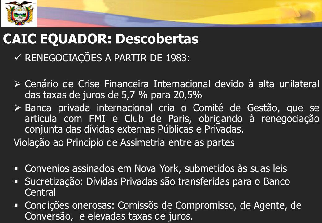 CAIC EQUADOR: Descobertas RENEGOCIAÇÕES A PARTIR DE 1983:  Cenário de Crise Financeira Internacional devido à alta unilateral das taxas de juros de 5